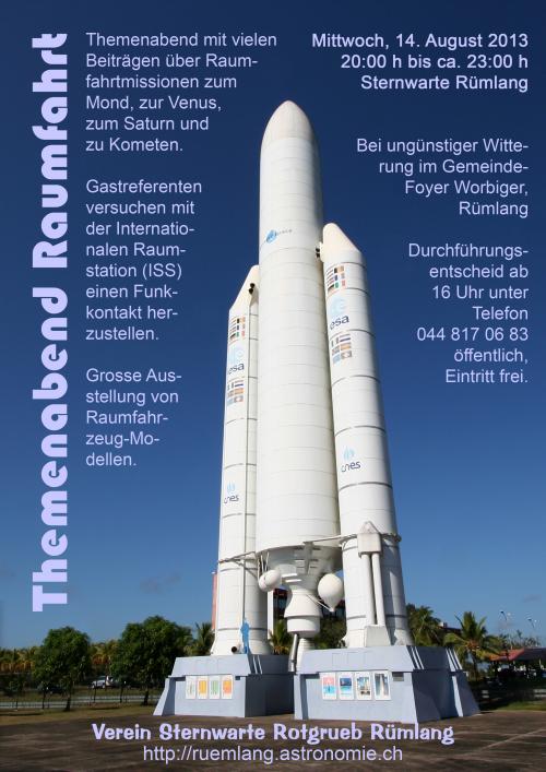 Flyer Raumfahrtvortrag
